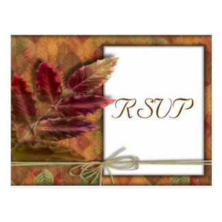 Fall Autumn Wedding RSVP Postcard