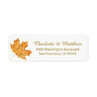 Fall Autumn White Gold Leaf Wedding Return Address