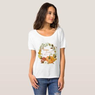 Fall Autumn Wreath Thankful Grateful Blessed Art T-Shirt