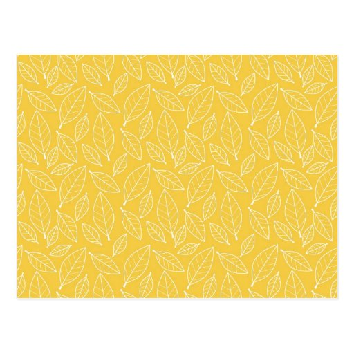 Fall Autumn Yellow Golden Leaf Leaves Pattern Post Card