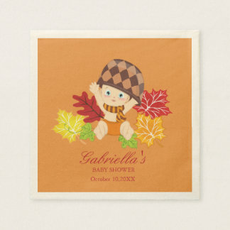 Fall Baby In Leaves Baby Shower Personalize Napkin Paper Serviettes