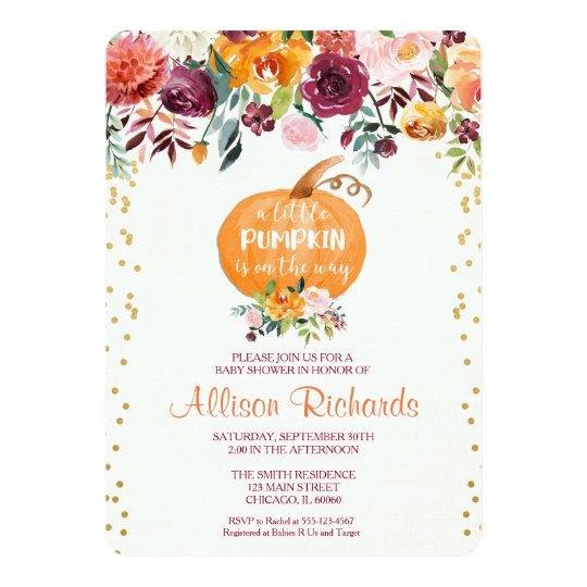 Fall baby shower invitation, pumpkin baby shower card