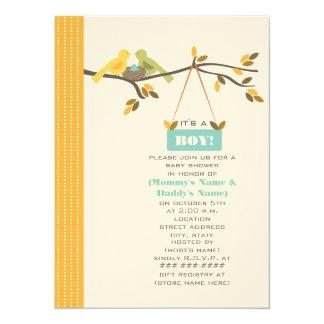Fall Baby Shower Mommy & Daddy Birds & Blue Egg 14 Cm X 19 Cm Invitation Card