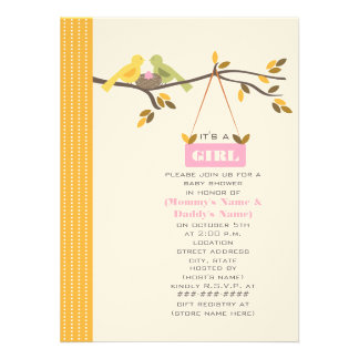 Fall Baby Shower Mommy & Daddy Birds & Pink Egg Invitations