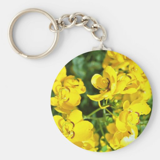 Fall-blooming cassia  flowers keychain