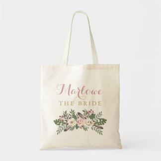 Fall Boho Flowers   Wedding Bridal Party Tote Bag