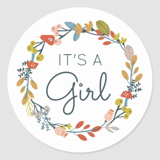 Fall Botanical Baby Shower Classic Round Sticker
