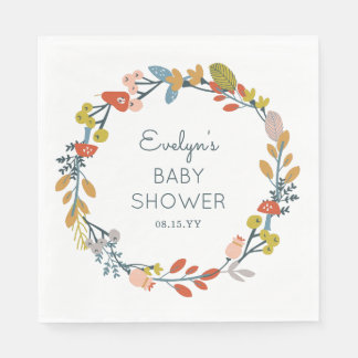 Fall Botanical Baby Shower Disposable Serviettes