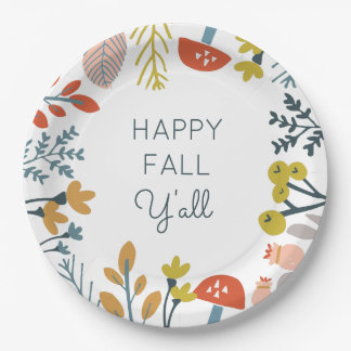 Fall Botanical Paper Plate