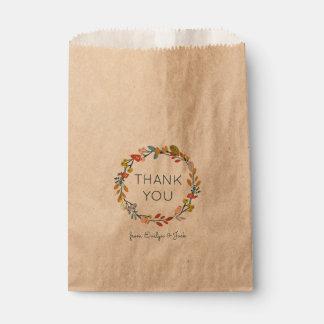 Fall Botanical Thank You Favour Bags
