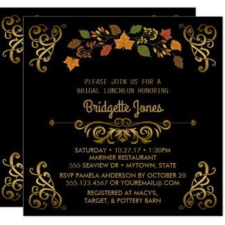 Fall Bridal Luncheon Elegant Gold   Wedding Shower Card