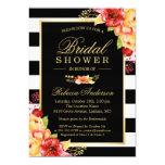 Fall Bridal Shower Autumn Gold Red Floral Stripes 13 Cm X 18 Cm Invitation Card