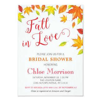 Fall Bridal Shower Invitation, Autumn Fall in Love Card