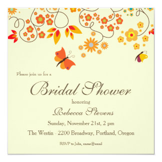 Fall Bridal Shower Invitation With Butterflies