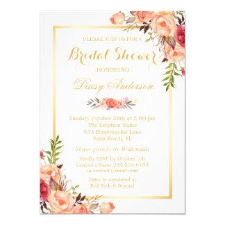 Fall Bridal Shower Rustic Orange Floral Chic Gold 13 Cm X 18 Cm Invitation Card