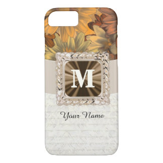 Fall brown floral personalised monogram iPhone 8/7 case