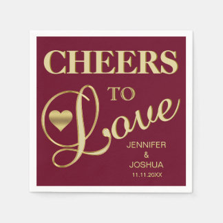 Fall Burgundy CHEERS TO LOVE Gold Heart Wedding Paper Napkins