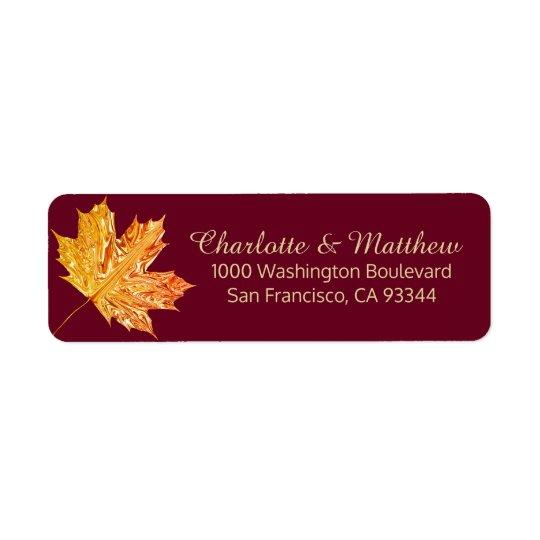 Fall Burgundy Gold Leaves Wedding Return Address