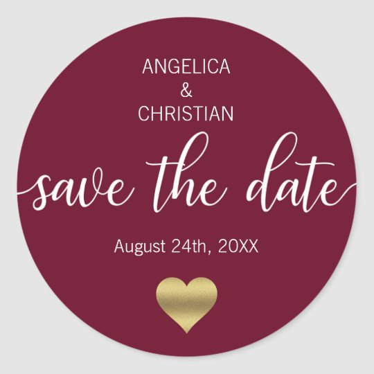 Fall Burgundy Marsala Gold SAVE THE DATE Wedding
