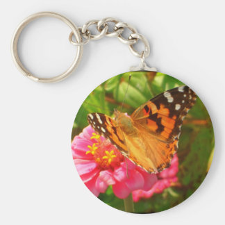 Fall Butterfly Basic Round Button Key Ring