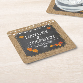 Fall Coasters Rustic Chalk Lights Wedding Party