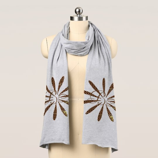 Fall Collection Abstract Flower Add Initials Scarf