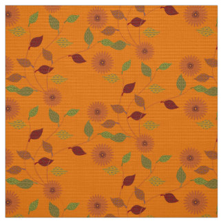 Fall Collection Bright Orange Flower Leaf Pattern Fabric