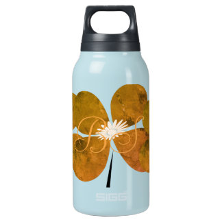 Fall Collection Orange Flowers  Add Initials Insulated Water Bottle