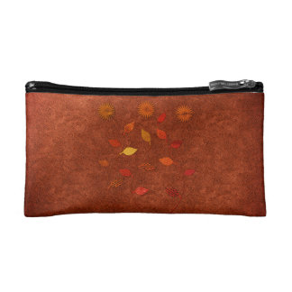 Fall Collection Orange Leather Look Floral Bag