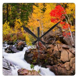 Fall color along Bishop Creek, CA Wall Clocks