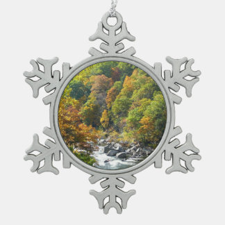 Fall Color at Ohiopyle State Park Pewter Snowflake Decoration