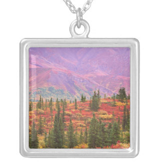 Fall color in Denali National Park Silver Plated Necklace