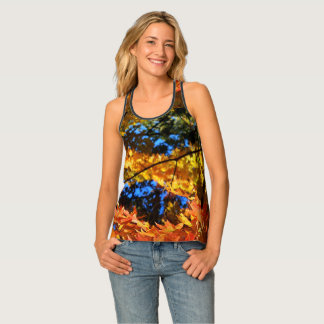 Fall Color Leaves All-Over Print Racerback Top
