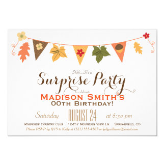 Fall Color Leaves Bunting Birthday Surprise Party 13 Cm X 18 Cm Invitation Card
