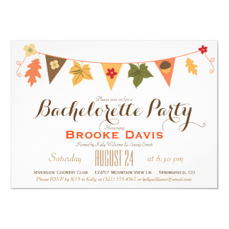 Fall Color Leaves Bunting Flag Bachelorette Party 13 Cm X 18 Cm Invitation Card