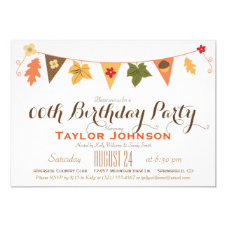 Fall Color Leaves Bunting Flag Birthday Party 13 Cm X 18 Cm Invitation Card