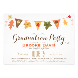 Fall Color Leaves Bunting Flag Graduation Party 13 Cm X 18 Cm Invitation Card