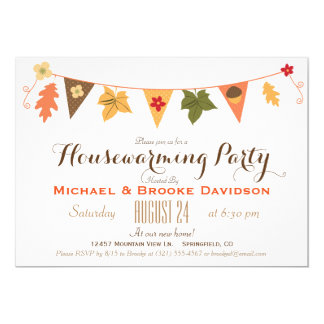 Fall Color Leaves Bunting Flag Housewarming Party 13 Cm X 18 Cm Invitation Card