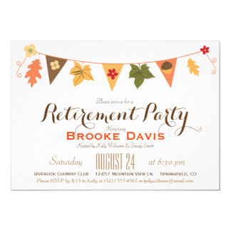 Fall Color Leaves Bunting Flag Retirement Party 13 Cm X 18 Cm Invitation Card