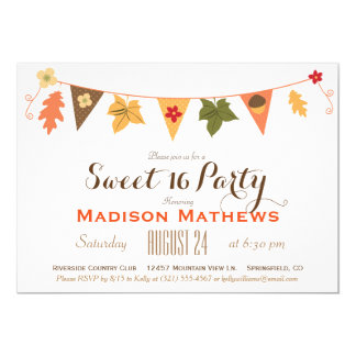 Fall Color Leaves Bunting  Sweet 16 Birthday Party 13 Cm X 18 Cm Invitation Card