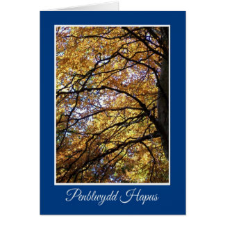 Fall Color Trees Birthday Card, Welsh Greeting Card