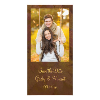 Fall Colored Maple Leaves Wedding Save the Date Customised Photo Card