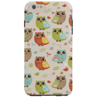 Fall Colored Owl Pattern Tough iPhone 6 Plus Case
