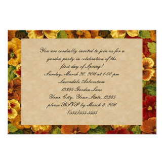 Fall Colored Pansies Flower Garden Party Announcement