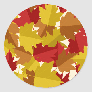 Fall Colorful Leaves Round Sticker