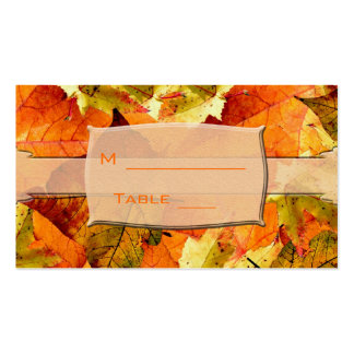 fall colorful leaves wedding dinner table number business card templates
