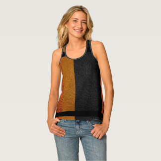 Fall Colors All-Over Print Leather Look Tank Top