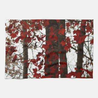 Fall Colors Autumn Red | Canadian Maple Leaves Tea Towel
