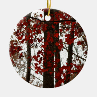 Fall Colors Autumn Trees Red Canadian Maple Leaves Christmas Ornament
