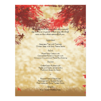 Fall Colors: Burgundy and Red Branch Wedding Menu 21.5 Cm X 28 Cm Flyer